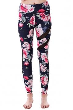 Women Mesh Patchwork Floral Printed Yoga Sports Wear Leggings Rose Red