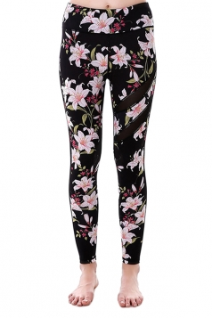 Women Mesh Patchwork Floral Printed Yoga Sports Wear Leggings Pink
