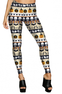 Women High Waist Pumpkin Printed Halloween Leggings Apricot