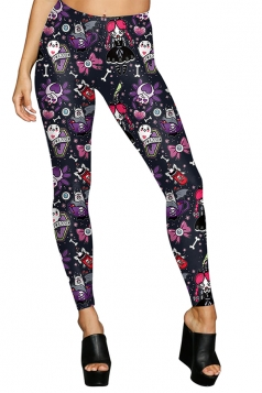 Women High Waist Sew Rockin Printed Halloween Leggings Dark Purple
