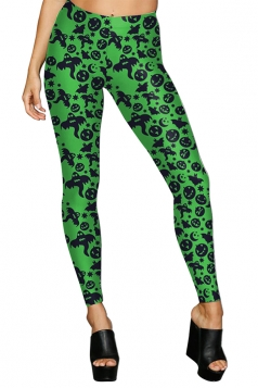Women High Waist Pumpkin Ghost Printed Halloween Leggings Green