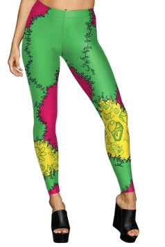 Women High Waist Sew Rockin Printed Halloween Leggings Light Green