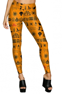 Women High Waist Pumpkin Ghost Printed Halloween Leggings Orange