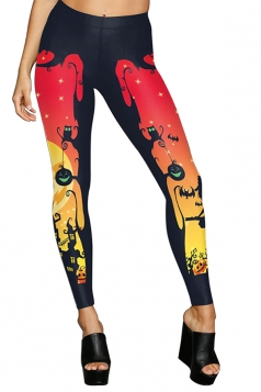 Women High Waist Pumpkin Wizard Printed Halloween Leggings Red