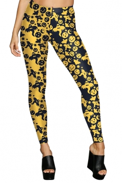 Women High Waist Pumpkin Ghost Printed Halloween Leggings Yellow