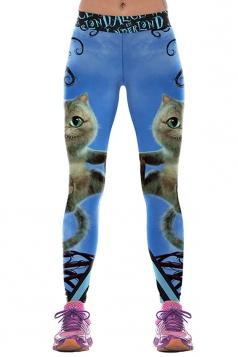 Women Cats Printed High Waist Halloween Leggings Light Blue