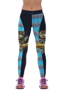 Women Cats Printed High Waist Halloween Leggings Sapphire Blue