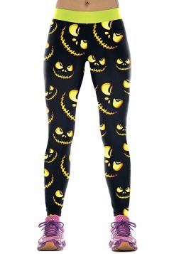 Women Pumpkin Printed High Waist Halloween Leggings Yellow