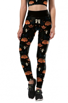 Women Pumpkin Printed High Waist Halloween Leggings Black