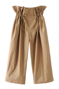 Women Casual Elastic High Waist Drawstring Wide Legs Capri Pants Khaki