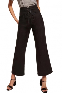 Women Elegant High Waist Cross Bandage Wide Legs Plain Pants Black