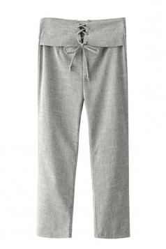 Women Elegant High Waist Cross Lace Up Wide Legs Plain Pants Gray
