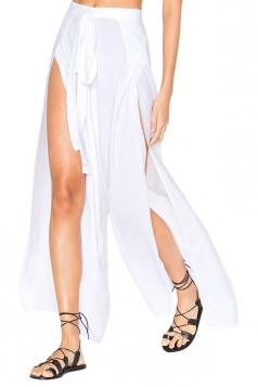 Women Sexy High Waist Slit Plain Wide Legs Leisure Pants White
