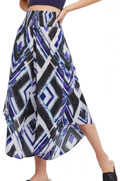 High Waist Asymmetrical Hem Geometry Printed Wide Legs Pants Blue