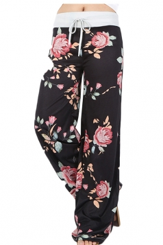 Women Casual Draw String Floral Printed Yoga Sports Wear Pants Black