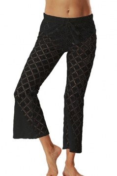 Women Sexy Lace See Through Bell Bottom Leisure Pants Black