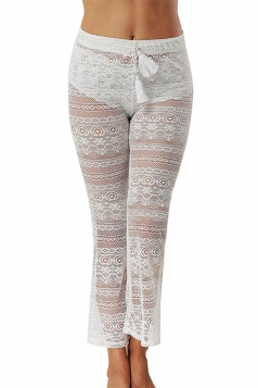Women Sexy Lace See Through Bell Bottom Leisure Pants White