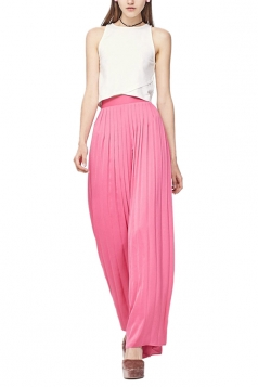 Women Casual Pleated Wide Leg Long Pants Pink