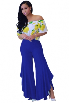 Women Pleated Flare Bottom Split Leisure Pants Blue