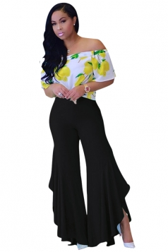 Women Pleated Flare Bottom Split Leisure Pants Black