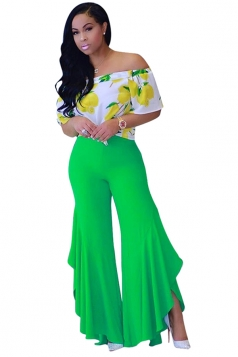 Women Pleated Flare Bottom Split Leisure Pants Green