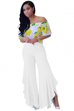 Women Pleated Flare Bottom Split Leisure Pants White