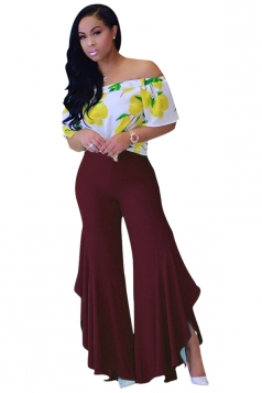 Women Pleated Flare Bottom Split Leisure Pants Ruby