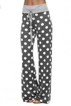 Women Polka Dot Printed Draw String Leisure Pants Black