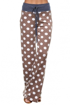 Women Polka Dot Printed Draw String Leisure Pants Chestnut