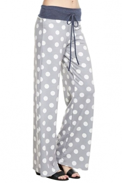 Women Polka Dot Printed Draw String Leisure Pants Light Gray
