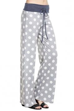 Women Polka Dot Printed Draw String Leisure Pants Light Gray