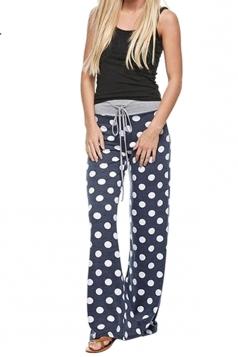 Women Polka Dot Printed Draw String Leisure Pants Navy Blue