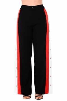 Women Sexy Side Stripe Splits Button High Waist Pants Black