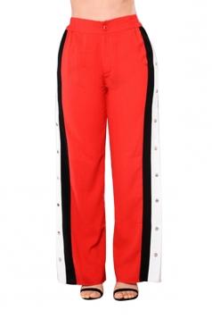 Women Sexy Side Stripe Splits Button High Waist Pants Orange