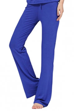 Women Plain Draw String Loose Yoga Sports Wear Leisure Pants Blue