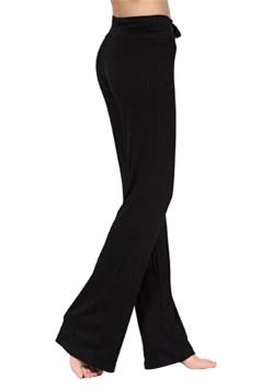 Women Plain Draw String Loose Yoga Sports Wear Leisure Pants Black