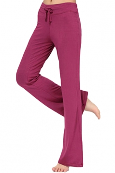 Women Plain Draw String Loose Yoga Sports Wear Leisure Pants Ruby