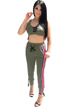 Women Sexy Lace Up Stripe Tank Top & Tight Pants Suit Army Green