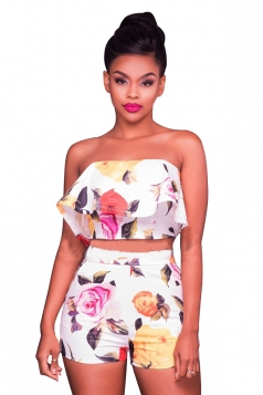 Women Off Shoulder Ruffle Crop Top & Printed Shorts Suit White