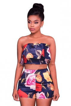 Women Off Shoulder Ruffle Crop Top & Printed Shorts Suit Navy Blue