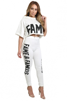 Women Letter Printed Hooded Top Tight High Waist Pants Suit White