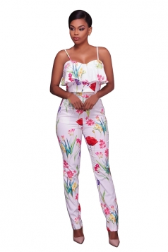 Women Sexy Strap Ruffle Floral Printed Suit Red