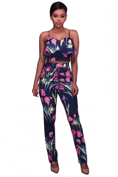 Women Sexy Strap Ruffle Floral Printed Suit Navy Blue