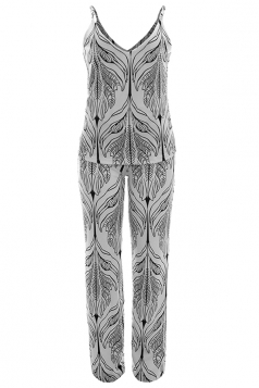 Women Adjustable Strap V Neck Printed Two Pieces Suit Gray