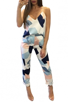 Women Adjustable Strap V Neck Printed Two Pieces Suit White