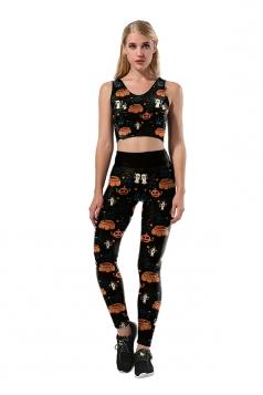 Women Pumpkin Printed High Waist Halloween Sports Wear Suit Black