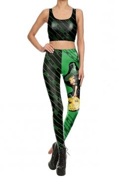 Women Wizard Pumpkin Printed Halloween Sports Wear Suit Green