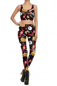 Women Pumpkin Candy Printed Halloween Sports Wear Suit Yellow