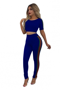 Women Sexy Side Stripe Crop Top Skinny Pants Sports Suit Sapphire Blue