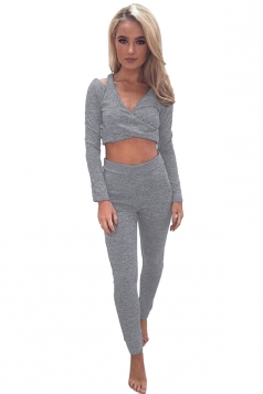 Women Sexy V Neck Cold Shoulder Crop Top Sports Wear Suit Gray